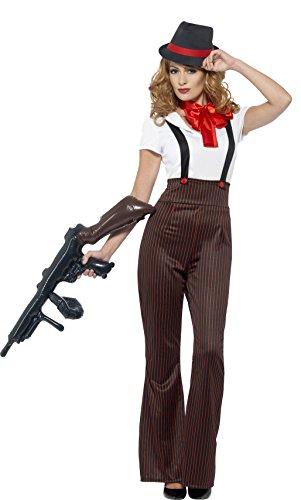 (Smiffys 24635S - Fever Damen Glam Gangster Kostüm, Größe: 36-38, Schwarz/Rot)