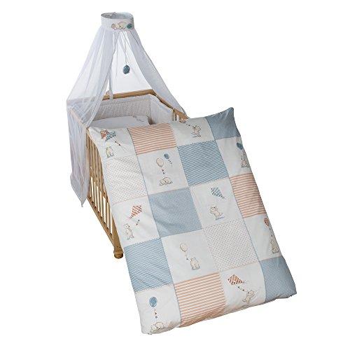 roba Kinder-Bettgarnitur 4-tlg, Babybett-Ausstattung 'Vintage Bear', Bettset 4-teilig: Bettwäsche 100x135 (Decke & Kissen), Nestchen, Himmel