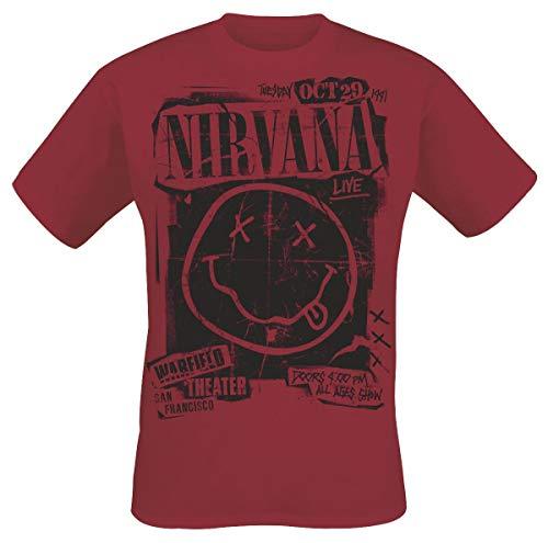 Nirvana Band Poster Camiseta Rojo M