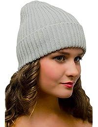 Gris Gorro de Punto Mujer Hombre - Beanie Invierno Cálido - Gorros de Lana  Esquí Moda a76416f84eb