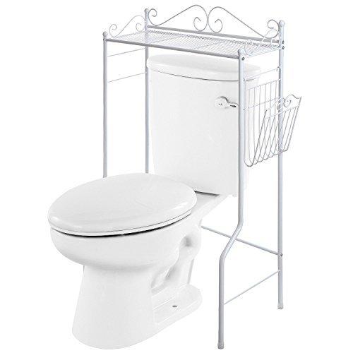 VANRA Spacesaver-Organizer per bagno in metallo-Cestino per bagno con mensola per riviste, Bronzo, Bianco, 1