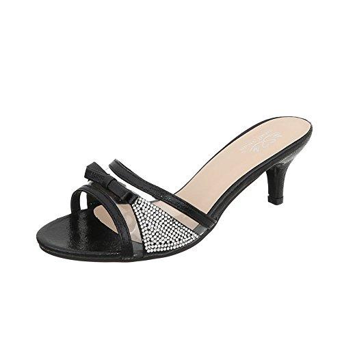Ital-Design Pantoletten Damen-Schuhe Kleiner Trichter Sandalen & Sandaletten Schwarz, Gr 38, Lt-06-