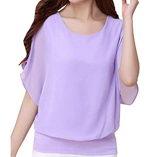 Minetom Femme Casual Haut Tee-shirt Col Rond Manche Chauve-souris Tops Blouse Chemise T-Shirt Pourpre