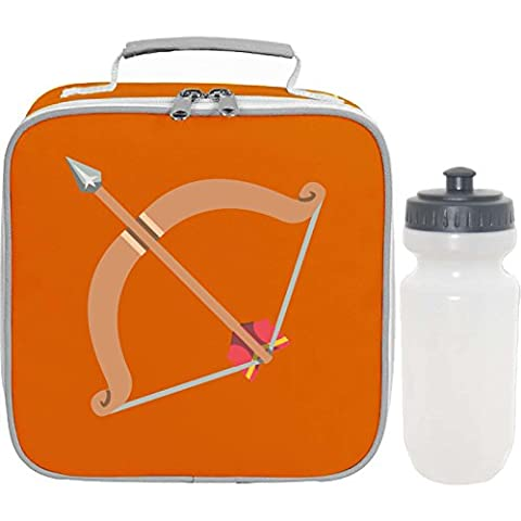 Apparel Printing Emoji Bow And Arrow Lunch Bag And Bottle, Tangerine