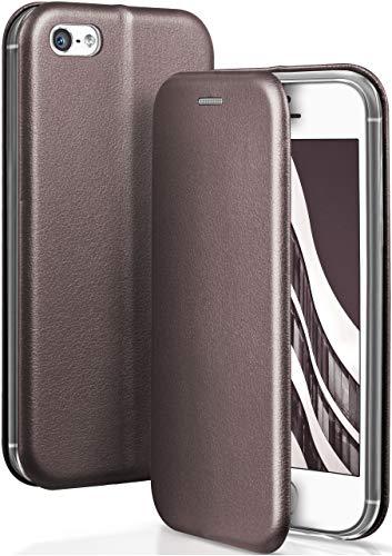 ONEFLOW Apple iPhone 5S | Hülle Anthrazit-Grau mit Karten-Fach 360° Business Klapp-Hülle Handytasche Kunst-Leder Handyhülle für iPhone 5/5S/SE Flip Case Cover Tasche Schutzhülle