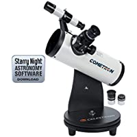 Celestron FirstScope - Telescopio astronómico (76 mm de apertura, 300 mm de distancia focal, f/3.95 de relación focal) color blanco y negro