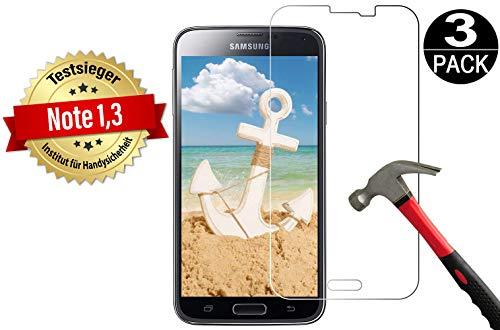 Cäsar-Glas [3 Stück] Panzerglas Schutzglas für Samsung Galaxy S5 Mini, Anti-Kratzen, Anti-Öl, Anti-Bläschen, 9H Echt Glas Panzerfolie Schutzfoliee