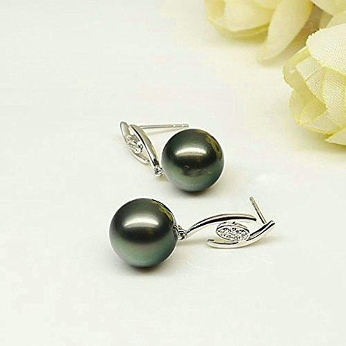 Aooaz Femmes Argent Boucles d'Oreilles Noir Pearl Gentil Coeur Lien Boucles d'Oreilles Pendantes Argent12
