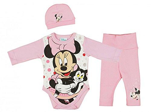 Mädchen BABY-SET Minnie Mouse 3-teilig, Baby-Body mit Hose und Mütze in GRÖSSE 56, 62, 68, 74, Spiel-Anzug mit Druck-Knöpfen, Schlaf-Anzug langärmlig, Geschenk für Neugeborene Size 74