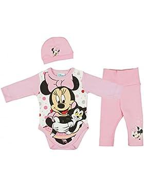 Mädchen BABY-SET Minnie Mouse 3-teilig, Baby-Body mit Hose und Mütze in GRÖSSE 56, 62, 68, 74, Spiel-Anzug mit...