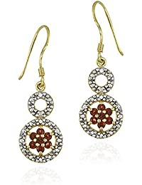 18K Gold over Sterling Silver Garnet Flower & Diamond Accent Graduating Double Circle Earrings