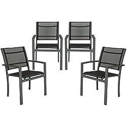 TecTake 800323 - Juego de 4 Sillas de jardín sillón balcón terraza Silla de Exterior (Gris Oscuro | No. 402066)