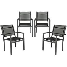 TecTake Juego de 4 Sillas de jardín sillón balcón terraza silla de exterior - disponible en diferentes colores - (Gris oscuro | no. 402066)
