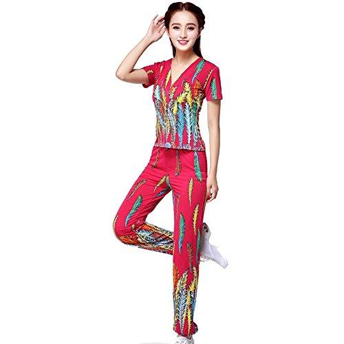 Byjia Frauen Latin Square Peacock Dance Print Erwachsene Hosen Performance Dress Up Anzug Praxis Match Uniformen Professionelle Performance Sets Rose Red ()