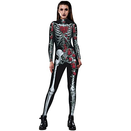 Mitlfuny Halloween Skelett Jumpsuit,3D Digitaldruck Damen Gespenstisch Bodycon Party Cosplay KostüM Overalls (L, Schwarz) (Trenchcoat Schwarz Halloween-kostüm)
