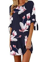 Overdose Vestido Sueltos para Mujer con Estampado Mini Floral Bowknot Mini Casual Mitad De Fiesta