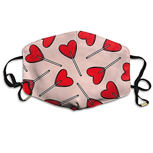 Masken für Erwachsene,Mouth Mask,Outdoor Face Masks with Design, Candy Hearts Lollipops Outdoor Protective Cotton Face Mouth Mask Suitable for Adults Ski Cycling Camping Half Face Mouth Masks 178