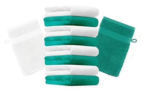 Betz lot de 10 gants de toilette taille 16x21 cm 100% coton Premium couleur blanc, vert émeraude