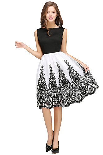Damen Rockabilly Kleid 1950er Retro Abendkleid Petticoat Cocktailkleid Blumenmuster Knielang Blau M