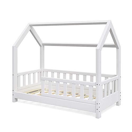 VitaliSpa Kinderbett Hausbett Wiki 70x140cm weiß Kinder Bett Holz Haus Schlafen Hausbett Spielbett Inkl. Lattenrost und Zaun Fallschutzgitter (Bett Kinder Weiß)