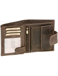 Kombibörse mit Außenverschluss im Hochformat LEAS MCL in Echt-Leder, braun - ''LEAS Basic-Vintage-Collection''
