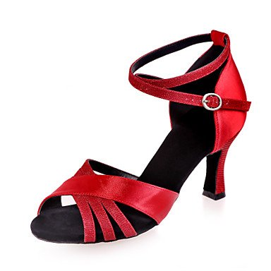 Scarpe da ballo - Non personalizzabile - Da donna - Balli latino-americani - Tacco a rocchetto - Raso -Nero / Marrone / Rosso / Argento / Red