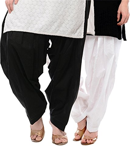 NGT Black And White Pure Cotton Patialas For Womens