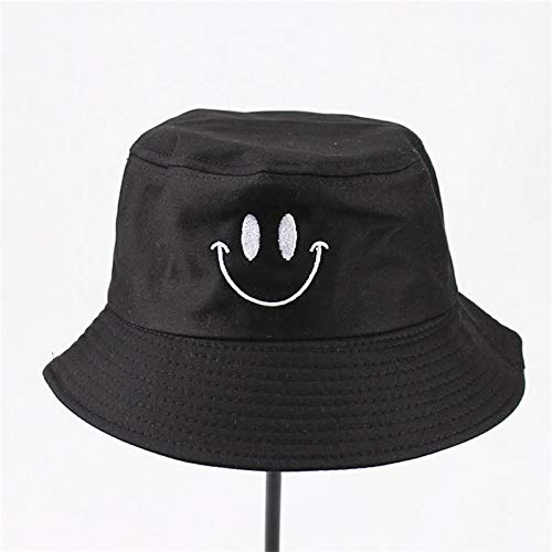 MAOZIJIE Baumwolle Smiley Stickerei Bucket Hat Fisherman Hat Outdoor-Hut Sun Cap Hats Für Männer Und Frauen (Mesh Hat Baumwolle Bucket)