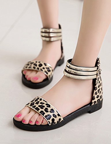 Sommer flache Sandalen Weibliche neue wilde Studenten ausgesetzt Zehen Hausschuhe Bequeme low-heeled Pantoffeln ( Farbe : A , größe : EU36/UK4/CN36 ) B