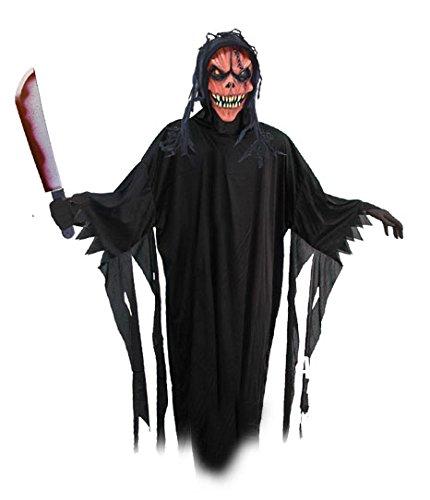 Pumpkin Master Halloween Monster Dämon Erwachsenen Komplett Kostüm Set Kürbis Monster Killer Latex Maske, Horror Robe, Handschuhe und Waffe alles mit dabei zum sofort los spuken Partyhammer Schwuerpower Paket Spaß