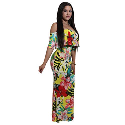 346ad463e ZHANGSHIGC Vestido Largo para Mujer Verano 2019 Fuera del hombro Falda de  Playa Vestido Estampado de