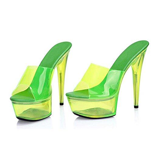 W&LMsandali Scarpe fluorescenti Tacchi alti 15CM Piattaforma impermeabile Fine con ciabatte infradito Sala da ballo Posto di lavoro Yellow