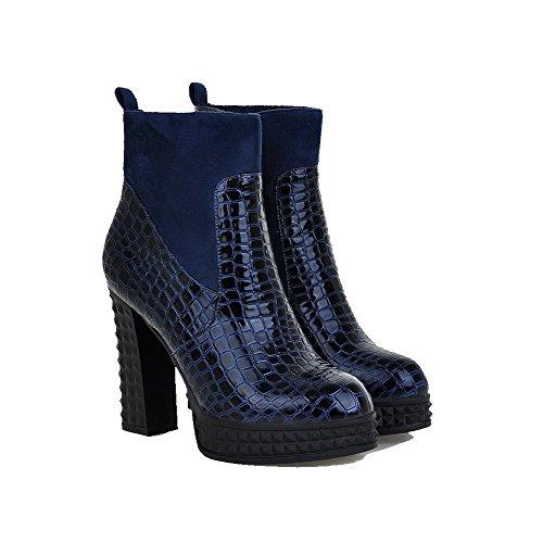 AgooLar Damen Niedrig-Spitze Rein Reißverschluss Hoher Absatz Stiefel mit Metallisch Blau
