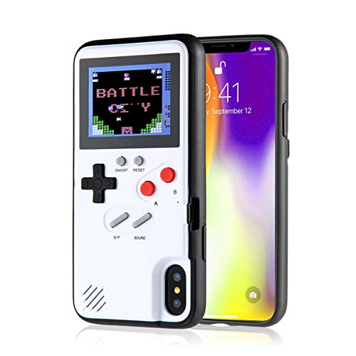 KOBWA Gameboy Case für iPhone, Retro 3D Gameboy Design Style Silikonhülle mit 36 Kleinen Spielen, Farbbildschirm, Videospiel-Cover für iPhone X/MAX, IPhone8 / 8 Plus, iPhone 7/7 Plus, iPhone 6/6 Plus