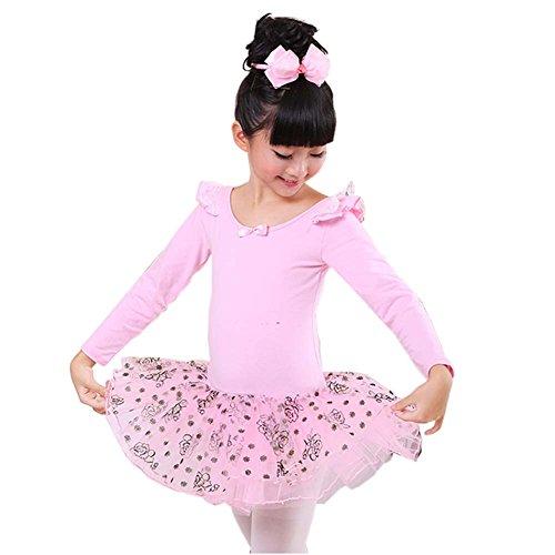 Bequemes Trikotanzug Ballett Langarm Tutu Rock Ballerina Tanz Kostüme, A