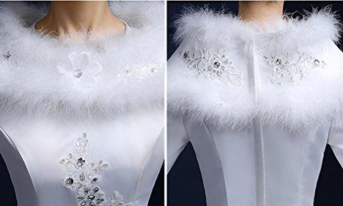 Eyekepper Robe de mariee femme de manches longues fausse fourrure robe de mariage d'hiver Blanc