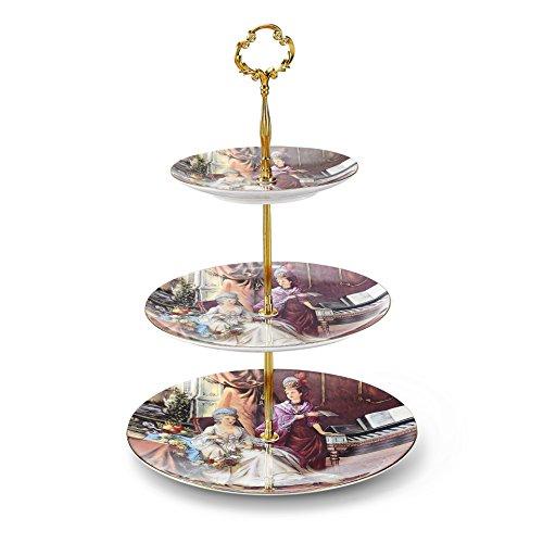 Panbado Présentoir à Gâteau Assiette à Dessert Support Cupcakes en Porcelaine Rond 3 Étages pour Mariage Fête Soirée Motif Tableau Style Royal
