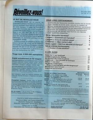 REVEILLEZ VOUS N? 14 du 22-07-1983 OU VA L'ECONOMIE MONDIALE - L'ARGENT - COMMENT EST-IL PRODUIT - L'ARGENT - IL N'Y EN A JAMAIS ASSEZ - L'INFLATION - QUE CACHE-T-ELLE - VOTRE ARGENT - EST-IL EN SECURITE A LA BANQUE - LES PROBLEMES ECONOMIQUES - EXISTE-T-IL UNE SOLUTION - NOTRE FILS IL EST HANDICAPE - LA BATTERIE GEANTE DE L'AFRIQUE - AU CARREFOUR DES ROUTES DU PETROLE - LE GYMNOTE - UNE MERVEILLE DE TECHNIQUE - DIEU A-T-IL UNE MERE - LES JEUNES S+?INTERROGENT EN QUOI LA PORNOGRAPHIE EST-ELLE... par Collectif