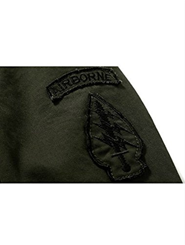 Bold Manner Blousons Veste Casual Militaire Homme Manches Longues Col Montant Noir FR S Kaki