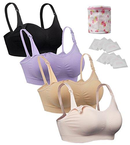 iLoveSIA 4X Still-BHS Schwangerschaft BH ohne Bügel Nahtloser Lila+Schwarz+beige+rosa+Wäschesäcke XL