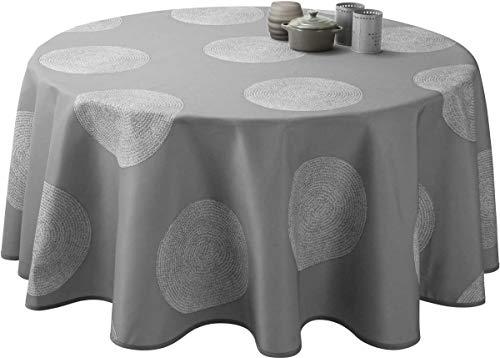 Mantel Antimanchas Cercles gris - tamaño : Redondo diámetro 180 cm