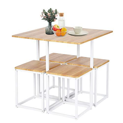 Set tavolo da pranzo ASUUNY, tavolo da pranzo e 4 sedie, Set ...