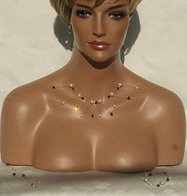 Parure étincelle marron, ivoire n°1 - Cristal de swarovski - Bijoux mariage - Parure mariée