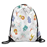 LULABE Outdoor Sports Team Drawstring Bag Gym Bags Casual Daypacks - (Cute Zebra Lion Trees Pattern)