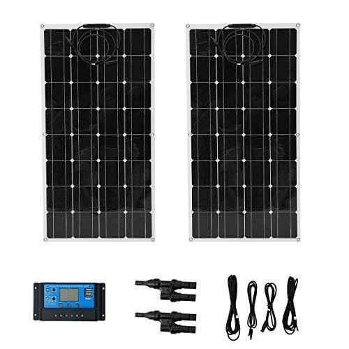 Funnyrunstore 2pcs 100W Pannello fotovoltaico Flessibile monocristallino Kit di Installazione Dispositivo di Ricarica Solare per Esterni Sistema di energia Solare
