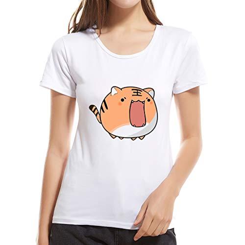was für EIN schönes T-Shirt für Mädchen, Frauen Mode Kreative Print Kurzarm Bluse Top Damen Sommer O Neck Comfy Tunika - Chambray-ernte