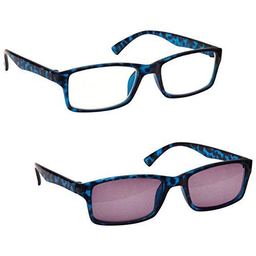 Die Lesebrille Unternehmen Blau Schildpatt Leser Mit UV400 Sonne Leser Wert Doppelpack Herren Frauen RS92-3 Dioptrien +1,50