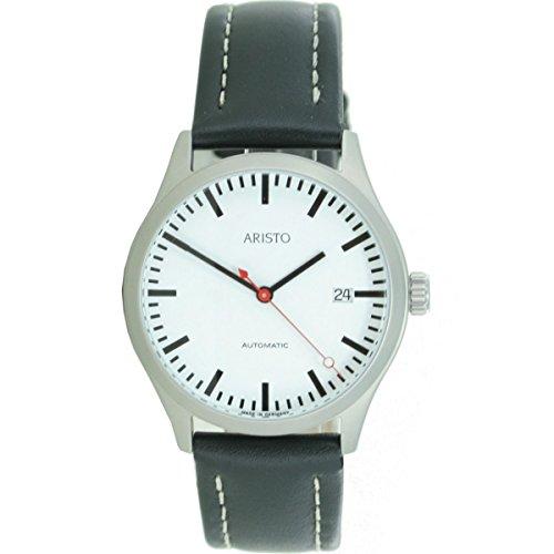 Aristo Reloj de hombre Automatic Acero Inoxidable estación de ferrocarril 3h191piel