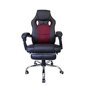 huigou HG® Silla Giratoria De Oficina Gaming Chair Apoyabrazos Acolchados Premium Comfort Silla Racing Capacidad De Carga 200 Kg Altura Ajustable Negro/Rojo