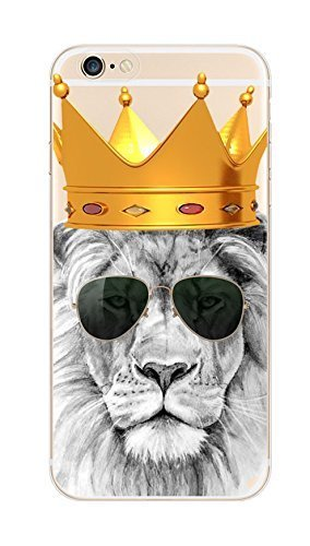 iPhone 6/6S, Deco Fairy Lion King mit Brille Ultra Slim Transluzent Silikon Clear Case Gel Cover für Apple